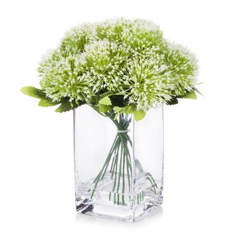 Enova Home Artificial Mixed Greenery Arrangement in Clear Glass Vase with Faux Water