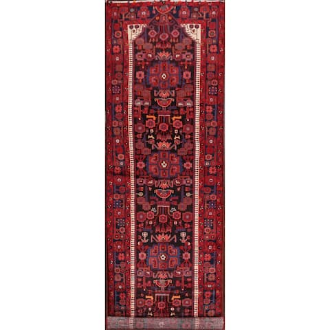"Tribal Geometric Nahavand Persian Long Runner Rug Hand-Knotted - 3'7"" x 16'0"""