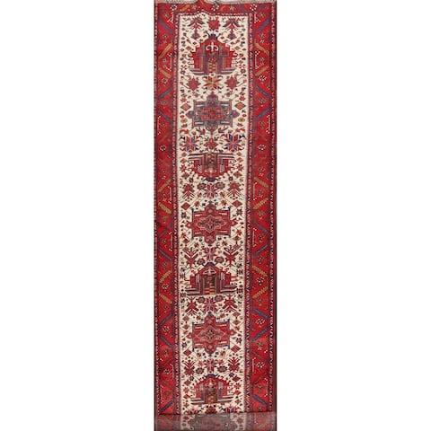 """Vegetable Dye Vintage Heriz Serapi Persian Long Runner Rug Handmade - 3'9"""" x 18'0"""""""