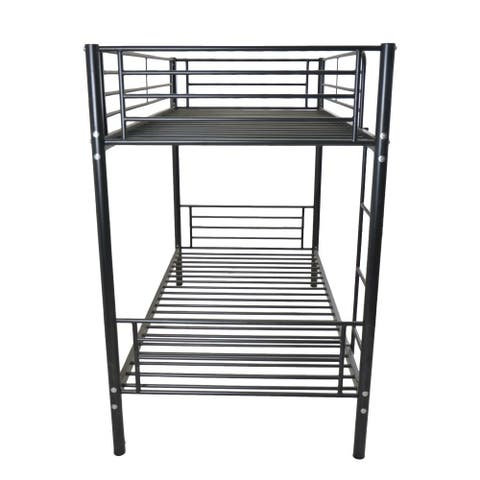 Iron Bed Bunk Bed with Ladder for Kids Black