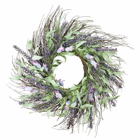 "Enova Home 24"" Mixed Spring Artificial Flower Wreath Home Decoration"