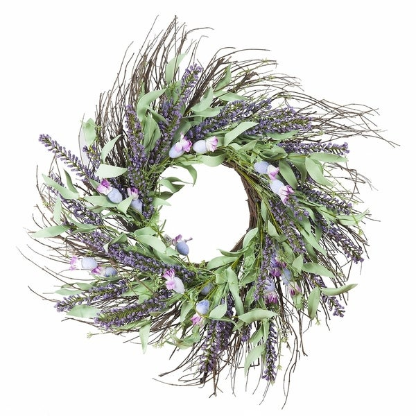 """Enova Home 24"""" Mixed Spring Artificial Flower Wreath Home Decoration. Opens flyout."""