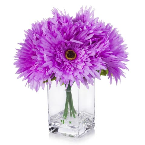 Enova Home Purple Silk Daisy Flower Arrangement in Clear Glass Vase with Faux Water