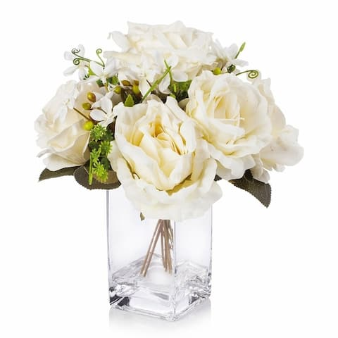 Enova Home Mixed Silk Rose Flower Arrangement in Clear Glass Vase with Faux Water