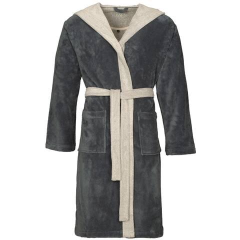 VOSSEN Unisex Hooded Bathrobe Poppy, Cuddly Dressing Gown, Comfortable Loungewear