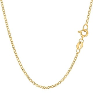 14K Yellow Gold 1.9MM Round Rolo Link Pendant Necklace Chain, Gold Necklace for Men & Women, Capital Jewelry