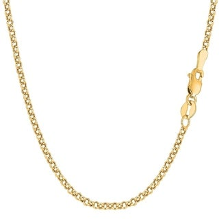 14K Yellow Gold 2.3MM Round Rolo Link Pendant Necklace Chain, Gold Necklace for Men & Women, Capital Jewelry