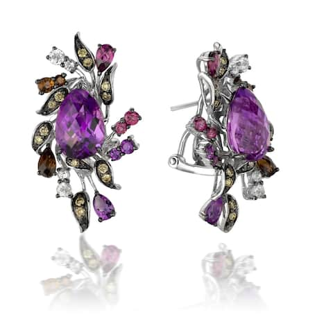 Encore by Le Vian Multi Colored Gemstone & Chocolate Diamond 14K White Gold Earrings