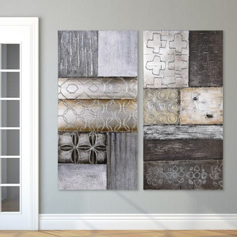 """""""Stacked 1 & 2"""" Abstract Textured Metallic Hand Painted Wall Art"""