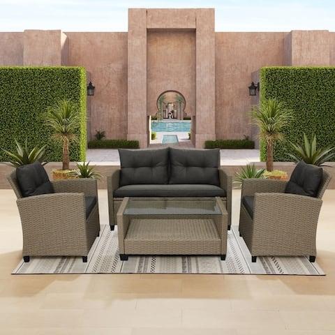 Corvus Armitage Outdoor 4-piece Wicker Sofa Set with Cushions