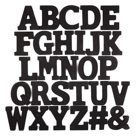 54x Wooden A-Z Alphabet Letters Symbols for Wedding Decoration, Black 3 x 2.5 in