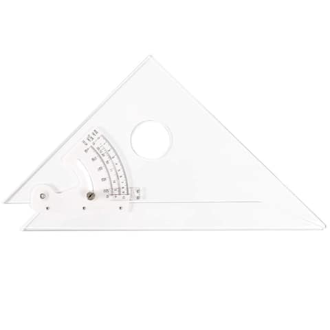 Trig Scale Adjustable Triangle with Inking Edge for Art, 12 x 12 in, Transparent - Clear