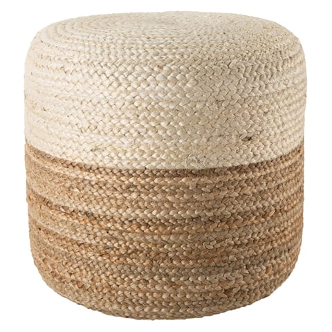 Jalissa Ombre White/ Beige Cylinder Pouf