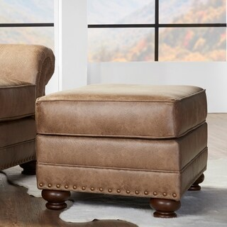 Link to Leinster Faux Leather Ottoman with Antique Bronze Nailheads in Jetson Ginger Similar Items in Living Room Furniture