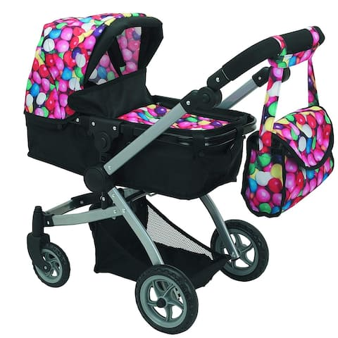 Deluxe Doll Stroller Foldable with Basket and Carriage Bag, Gumball