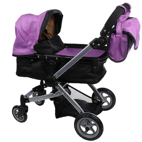 Luxury Faux Purple Leather Doll Stroller Foldable with Carriage Bag
