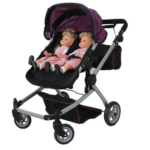 Deluxe Twin Doll Stroller Foldable and Carriage Bag 9651A Purple