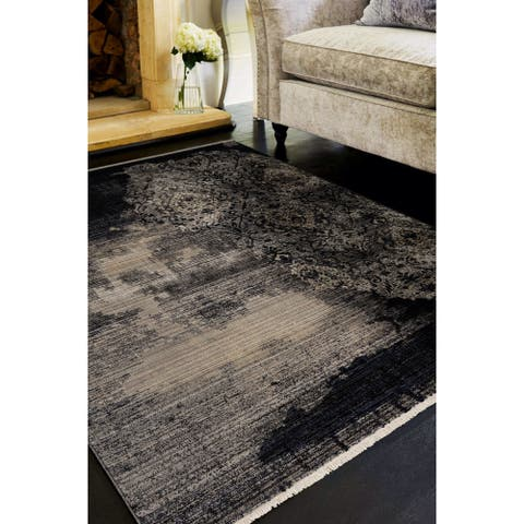 Gracewood Hollow Renza Distressed Damask Rug