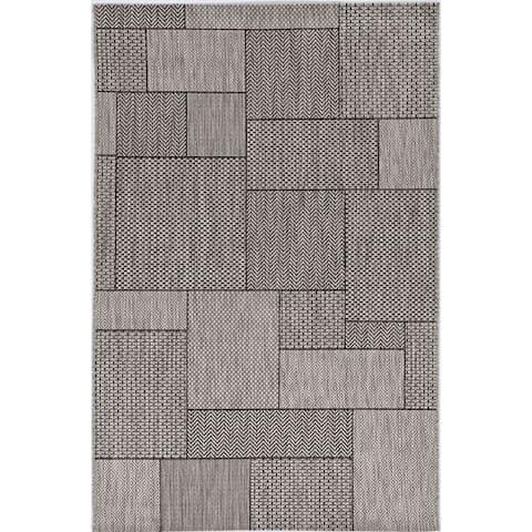 KAS Geometric Grey Global Indoor/Outdoor Area Rug