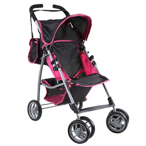 Doll Stroller Foldable Swiveling Wheels and Carriage Bag Pink andBlack