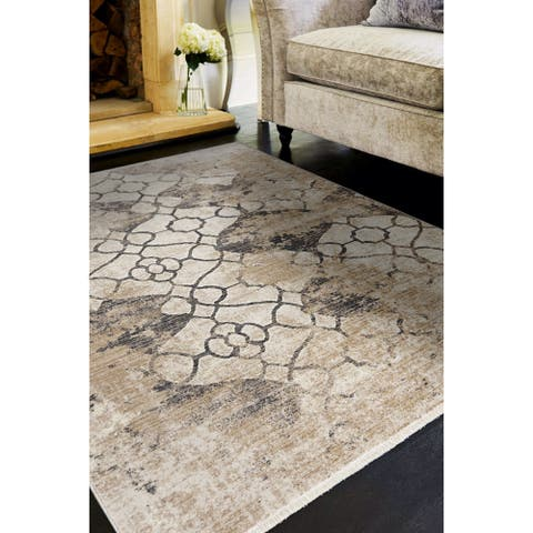 Gracewood Hollow Renza Distressed Trellis Rug