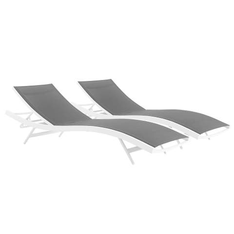 Glimpse Outdoor Patio Mesh Chaise Lounge Set of 2