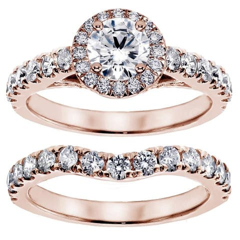 14k Rose Gold 3ct TDW Round Diamond Bridal Ring Set