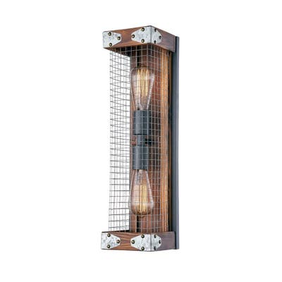 """RUSTIC WOOD IN BURNT BROWN COLOR AND IRON NET WALL LIGHT/ NO LIGHT BULBS 5"""" W x 19 7/8"""" H - BURNT BROWN"""
