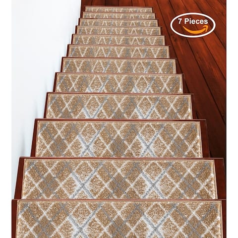 """SUSSEXHOME Modern Collection Stair Treads 100% Polypropylene 9"""" x 28"""""""