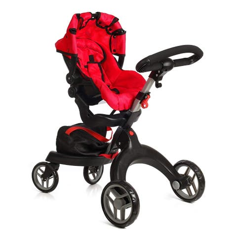 SoCutie 31 Inch Doll Stroller with Swiveling Wheels, Carriage Bag Red