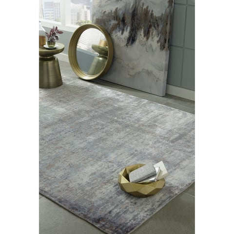 Gracewood Hollow Belvore Ombre Silver Handmade Rug