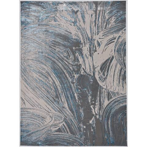 Silver Orchid Monel Ocean Blues Contemporary Rug