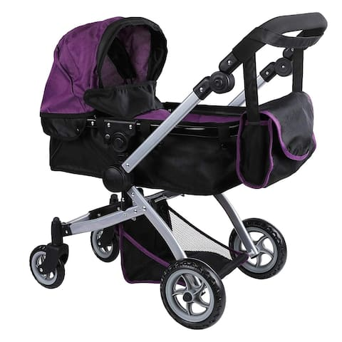 Doll Pram Color Purple & Black & Free Carriage Bag - 9651B