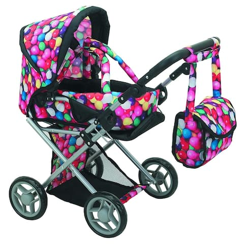 5 n 1 Deluxe Doll Pram Foldable Doll Stroller with Carrier Carriage Bag, Gumball