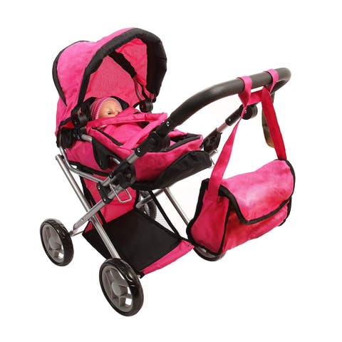 Doll Stroller Deluxe Foldable 4 n 1 Doll Pram Carrier and Carriage Bag