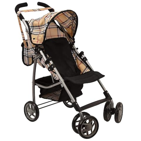 Doll Stroller Swiveling Wheels with Carriage Bag 9351A Beige Plaid
