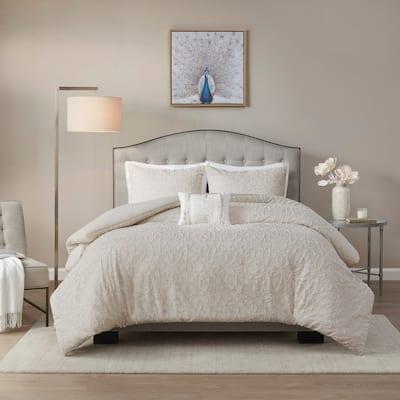 Madison Park Lydia Light Taupe Cotton Comforter Set
