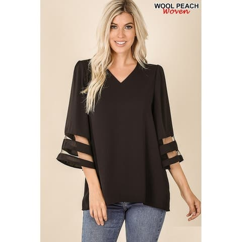 JED Women's V-Neck Bell Sleeve Top with Mesh Detail