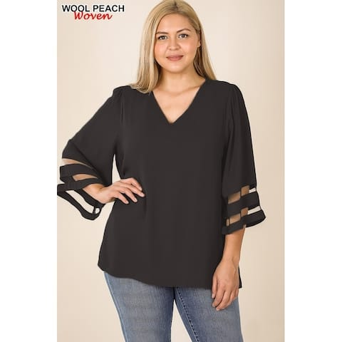 JED Women's Plus Size V-Neck Bell Sleeve Top with Mesh Detail