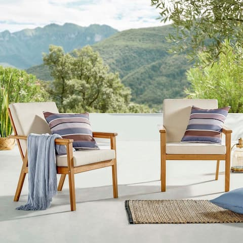 Vero Outdoor Patio Ash Wood Armchair Set of 2