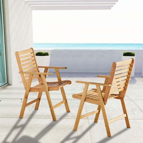 Hatteras Outdoor Patio Eucalyptus Wood Armchair Set of 2