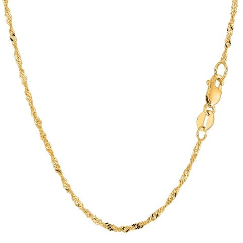 14K Yellow Gold 1.5MM Singapore Twisted Link Pendant Necklace Chain, Gold Necklace for Men & Women, Capital Jewelry