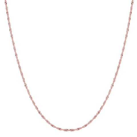 14K Rose Gold 1MM Singapore Twisted Link Pendant Necklace Chain, Gold Necklace for Men & Women, Capital Jewelry