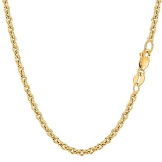 14K Yellow Gold 3MM Forsantina Cable Link Pendant Necklace Chain, Gold Necklace for Men & Women, Capital Jewelry