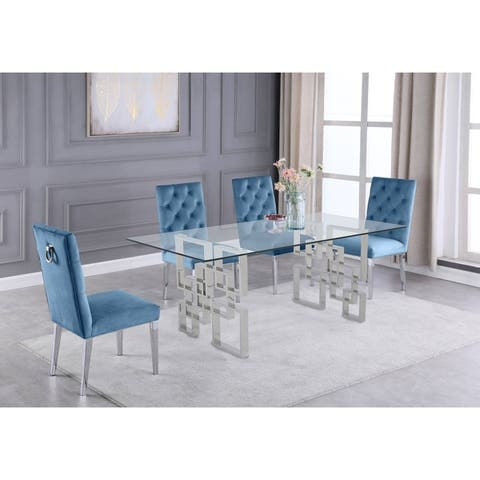 Best Quality Furniture Glass Table Top Dining Set with Tufted Backrest Upholstered Side Chairs