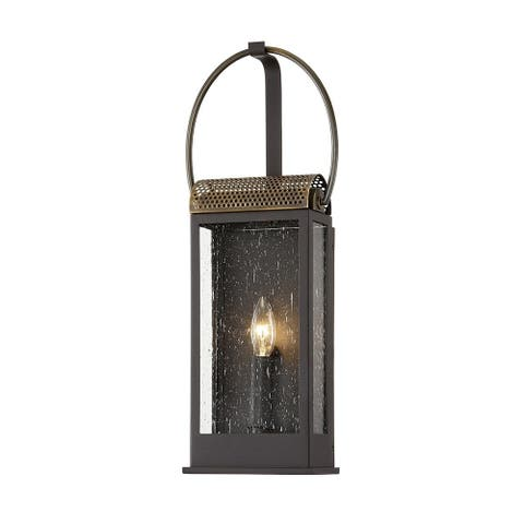 Holmes Bronze and Brass Wall Sconce with Clear Seeded Glass