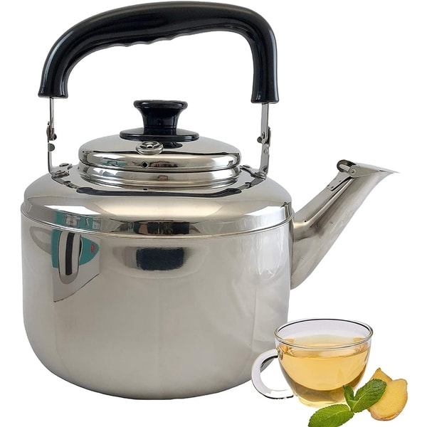 5.5 Liter Whistling Tea Kettle with Cool Touch Handle, Surgical Stainless Steel Teapot for All Stovetops. Opens flyout.