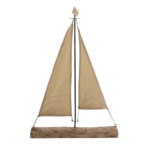 "Mango Wood Sailboat 32"", Beige"