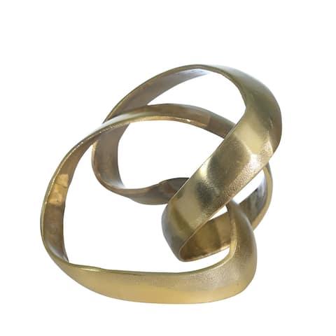 "Aluminum Knot Sculpture, 7"", Gold"