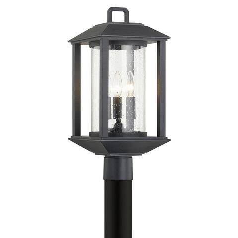 Mccarthy 3-light Weathered Graphite Post with Clear Seeded Glass